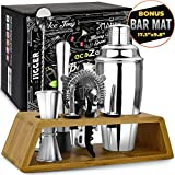 Bar Tools Bartender Tool Kit with Bonus Bar Mat (11 Piece) | Premium Bar Sets for The Home | Stainless Steel Cocktail Shaker Set and Bar Cart Accessories | Drink Mixer with Wooden Stand (Silver)