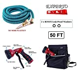 eXperto (50ft, Blue) Expandable Garden Hose 3 in 1 KIT - Expanding Hose + Heavy Duty 8 Pattern Metal Watering Nozzle Spray Front Trigger + Hose Storage Bag