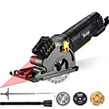 Circular Saw, TECCPO 3-1/3' 3500RPM Compact Circular Saw with Laser Guide, 3 Saw Blades, Scale Ruler and 4Amp Pure Copper Motor, Suitable for Wood, Tile, Aluminum and Plastic Cuts - TAPS22P