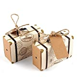 AerWo 50pcs 'Travel Themed' Suitcase Favor Boxes + 50pcs Tags, Vintage Kraft Favor Box Candy Gift Bag for Travel Theme Party Wedding Birthday Bridal Shower