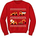 Tractors & Bulldozers Ugly Christmas Sweater Style Toddler/Kids Sweatshirts 2T Red