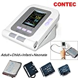CONTEC08A FDA Approved Fully Automatic Digital Upper Arm Blood Pressure Monitor Adult, Child, Pediatric,Neonotal Cuffs (4 Cuffs)