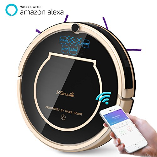 XShuai T370 Robot Vacuum Cleaner with Siri & Alexa Voice Control Wi-Fi Connected Self-Charging Gyroscope Navigation 1500Pa Powerful Suction HEPA Filter Pet Hair, Presented by Haier Robot