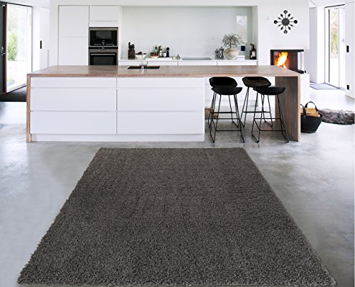 Sweet Home Stores Cozy Shag Collection Solid Shag Rug Contemporary Living & Bedroom Soft Shaggy Area Rug, 3'3' L x 5'0' W, Charcoal Grey