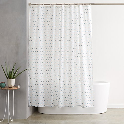 AmazonBasics Shower Curtain with Hooks (Treated to Resist Deterioration by Mildew) - 72 x 72 inches, Blue Squares
