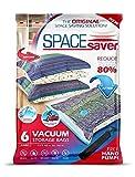 SpaceSaver Premium Reusable Vacuum Storage Bags (Jumbo 6 Pack), Save 80% More Storage Space. Double Zip Seal & Leak Valve, Travel Hand Pump Included.