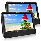 WONNIE 10.5'' Dual Portable DVD Player for Car Built-in 5 Hours Rechargeable Battery, USB&SD Card Readers, Great Gifts for Kids