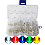 LED Diode, CO RODE 3mm 5mm LED Lights Emitting Diodes Assorted Clear Bulbs Kit with (White Red Blue Green Yellow, 300-Pack)