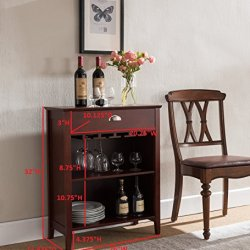 Kings Brand Furniture Dark Cherry Finish Wood Wine Buffet Storage Cabinet with Drawer