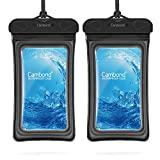 Floating Waterproof Phone Pouch, 100ft IPX8 Waterproof Case Compatible for iPhone XS Max/XR/X/8/8P/7/7P Galaxy up to 6.5', Lanyard Dry Bag for Snorkeling Pools Beach Kayaking Travel Bath(2 Pack Black)