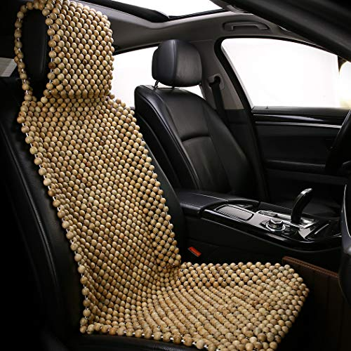 shakar Natural Wood Beads Car Seat Cover-Massage Cooling Seat Covers for Car SUV Truck Front Seat Only (Wood Beads)