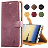 Samsung Galaxy Note 8 Case, Snakehive Genuine Leather Wallet with Viewing Stand and Card Slots, Flip Cover Gift Boxed and Handmade in Europe by Snakehive for Samsung Galaxy Note 8 - Plum