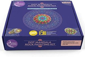 Asian Hobby Crafts Mandala Rock Art Kit: Make 3 Pieces of Mandala Rock Art with The Contents of This kit – White Rocks, Acrylic Paint, Dotting Tool, Paint Brush