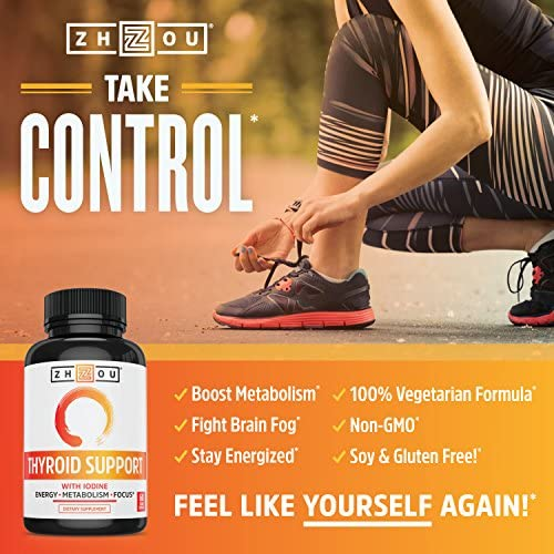 Zhou Nutrition Thyroid Support Complex with Iodine - Energy, Metabolism & Focus Formula - Vegetarian, Soy & Gluten Free - 'Feel Like Your Old Self Again' 7
