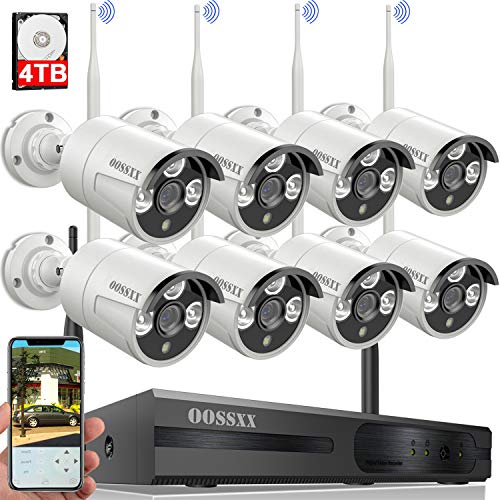 Wireless-Security-Camera-SystemOOSSXX-8-Channel-NVR-HD-1080P-Home-Surveillance-WiFi-Cameras-Systems-with-4TB-Hard-DriveBest-Wireless-Remote-DVR-Kits-for-Small-Business