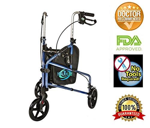 HEALTHLINE 3 Wheel Rollator Walker for...