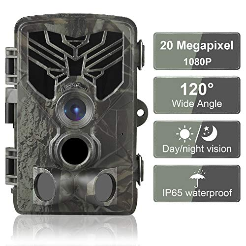Trail Camera 20MP 1080P Waterproof Game Hunting Scouting Camera for Wildlife Monitoring with 44pcs IR LED