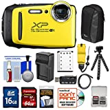 Fujifilm FinePix XP130 Shock & Waterproof Wi-Fi Digital Camera (Yellow) with 64GB Card + Battery +Charger + Cases + Tripod + Float Strap + Kit