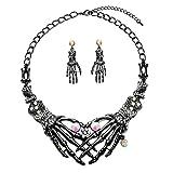 Zhenhui Halloween Necklace arrings Set - Hypoallergenic Gothic Skull Skeleton Choker Statement Necklace Earrings Jewelry Set for Women,Girls Including 1 Chunky Necklace,1 Drop Earrings