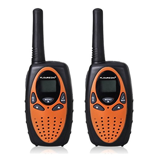 Floureon Twin Walkie Talkies for Kids 22 Channel Two Way Radios FRS/GMRS 3000M (MAX 5000M open field) UHF Long Range Built-in Microphone Hand Free Best Walkie Talkie (Orange/Black)