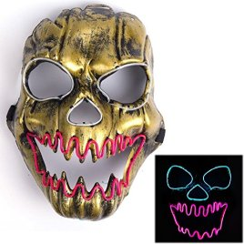 Ansee Luminous Scary Clown Mask Halloween Led Mask Flames Skull Mask Light Up Mask