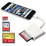 CF Card Reader For iPhone/iPad/iPad pro, SD/ CF / TF Card Adapter, Camera Kit,Trail Game Camera Viewer for iPhone X/XR/XSMAX/8 Plus/8/7 Plus/7/6s Plus /iPad Mini/Air, No App Required Plug and Play