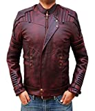Blingsoul Red Leather Jacket Mens - Distressed Biker Jacket Costume | [1200577] Star L. PU, 3XL