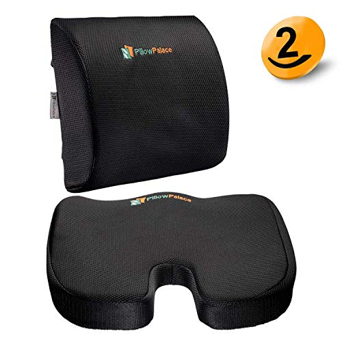 Pillow Palace| Coccyx Memory Foam Seat Cushion Set | Orthopedic Lumbar Support Pillow and Backrest | Non-Slip Bottom | Breathable Mesh Cover, Non-Sliding, Adjustable Straps| Car, Office Chair | Black