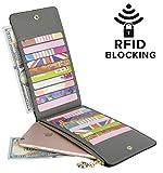 YALUXE Women's RFID Blocking Genuine Leather Multi Card Organizer Wallet with Zipper Pocket RFID Blocking Grey