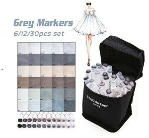 12 Color Cool Gray Marker Warm Gray Marker Set Dual Tips Alcohol Based Art Marker for Drawing Manga Mark Art Supplier (Blue Green Gray)