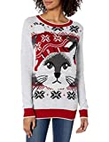 Ugly Christmas Sweater Company Women's Assorted Pullover Xmas Sweaters with Multi-Colored LED Flashing Lights, Silver Heather Light-Up Cat Face, S