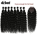 DÉBUT synthetic hair bundles with closure weave bundles with frontal swiss lace 9pcs Water Wave 20 inch 240g high temperature fiber