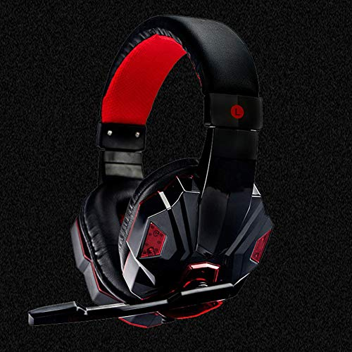 513A1UCEXSL - XuBa 3.5mm Earphone Gaming Headset Gamer Stereo Gaming Headphone with Microphone LED Black and red