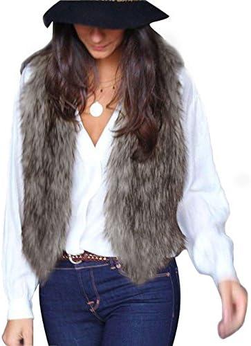 513AupNO4vL. AC  - MNLOS Chaleco de Piel sintética para Mujer Chaleco sin Mangas Fuzzy Fleece Jacket Abrigo Ligero de otoño cálido #Amazon