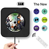 Portable Bluetooth CD Player, Wall Mountable Portable CD Player with Screen, Home Audio with Remote Control Built-in HiFi Speaker, USB Drive Player, MP3 3.5mm Headphone Jack & Aux Input/Output (black)