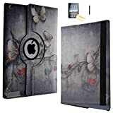 iPad Air 2 Case - JYtrend (TM) 360 Degrees Rotating Stand Leather Magnetic Smart Cover Case With Wake Sleep Feature For iPad Air 2/iPad 6 With Bonus Screen Protector, Stylus and Cleaning Cloth, Butterfly Flower