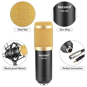 Neewer-NW-800-Professional-Studio-Broadcasting-Recording-Microphone-Set-Including-1NW-800-Professional-Condenser-Microphone-1Microphone-Shock-Mount-1Ball-type-Anti-wind-Foam-Cap-1Microphone-Power-Cabl