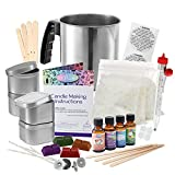 Complete DIY Candle Making Kit Supplies by CraftZee - Create Large Scented Soy Candles - Full Beginners Set Including 2 LB Wax, Rich Scents, Dyes, Wicks, Melting Pitcher, Tins & More