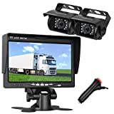 LeeKooLuu Dual Backup Cameras and 7 Inch LCD Monitor System Kit for Truck/Trailer/RV/Van/Bus Night Vision IP68 Waterpoof with ON/Off Switch Guide Lines Normal/Mirrored Pictures Controllable