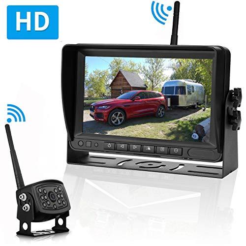Emmako Digital Wireless Backup Camera and 7'' Monitor System for RV/Truck/Trailer/Camper IP69K Waterproof Night Vision Rear/Front View No Distortion Camera Reversing/Driving Use
