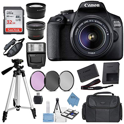 Canon-EOS-2000D-Rebel-T7-Digital-SLR-Camera-w-18-55MM-DC-III-Lens-Kit-Black-with-Accessory-Bundle-Package-Includes-SanDisk-32GB-Card-DSLR-Bag-50-Tripod-Extreme-Electronics-Cloth