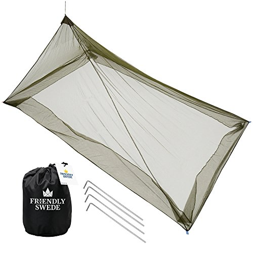The Friendly Swede Mosquito Net Canopy for Single Camping Bed, Tent Pegs Included - Compact and Lightweight Pyramid Net (Army Green)