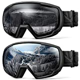 OutdoorMaster Kids OTG Ski Goggles - 2-Pack Over Glasses Kids Ski Goggles, 100% 400UV Protection - for Kids & Youth - Black/Grey (VLT 10%) + Black/Clear (VLT 99%)