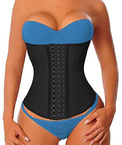 YIANNA Women's Latex Long Torso Waist Trainer 17 Steel Boned 3 Hook Rows, Size S (Black)