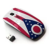 STPlus Ohio, The Buckeye State Flag USA United States of America 2.4 GHz Wireless Mouse with Ergonomic Design and Nano Receiver