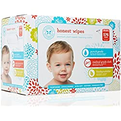 The Honest Company Baby Wipes - Pure and Gentle   Plant-Based and Biodegradable   Alcohol, Fragrance and Paraben Free   Hypoallergenic Honest Wipes   576 Count