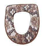Vanki Winter Warm Toilet Seat Cover Brown Flower 1pcs