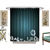 luvoluxhome Shower Curtains 3D Digital Printing Antique Old Planks American Style Western Rustic Wooden and Sunflower, Flower, Grass Custom Made Shower Curtain W72 x L84