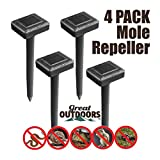 GREAT OUTDOORS TM Sonic Mole Repellent, Deterrent Rodent Ultrasonic Pest Control, Solar Gopher Repellent Vole Chaser Snake and Mole Deterrent Rodent Ultrasonic Pest Control, Underground Repeller