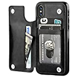 OT ONETOP iPhone Xs iPhone X Wallet Case with Card Holder, Premium PU Leather Kickstand Card Slots Case,Double Magnetic Clasp and Durable Shockproof Cover(Black)